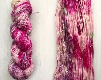 Hand dyed yarn, sock yarn, knitting yarn, merino blend, speckled, colorful