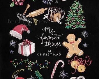 My favorite things at Christmas, instant digital download artwork