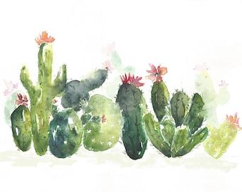 Cactus Landscape, Original Watercolor Painting, Succulents, Cactus Decor, Green, Garden, Urban Jungle, Cacti, Cactus Art,floral cactus plant