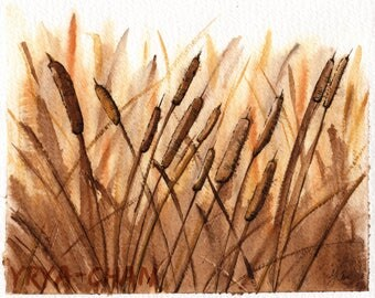 Original Watercolour Painting - A6 postcard (12 x 14 cm) - Cattails in Sepia Colors, watercolours, nature, vegetation, roseaux, aquarelle