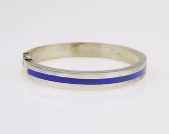 Sterling Silver 925 Vintage Enamel Mid Century Modern Bangle Bracelet 6 3/4'' Around 40.7 Grams(01375)