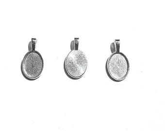 10PC. 14mm Oval Cabochon Setting// Silver Tone Plated Pendant Bezel Tray//Oval Bases Fit 14MM Glass Cabochon
