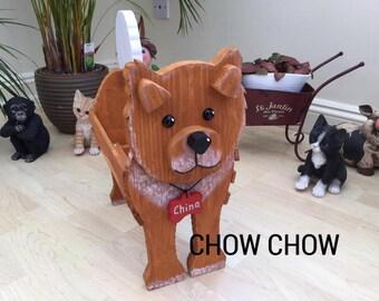 CHOW CHOW,wooden dog planter,garden ornament