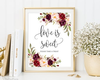 Love is Sweet Sign, Printable Wedding Sign, Love is Sweet Take a Treat Sign, Floral Wedding Sign, Instant Download, #A047