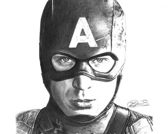 "8.5x11"" OR 11x17"" Print of Chris Evans as Captain America from The Avengers"