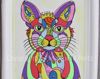 Art Painting Watercolor Animal Cat Pop Art free shipping 20.8 x 16.8 cm