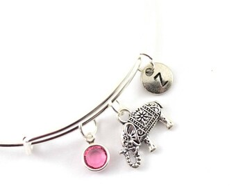 ELEPHANT charm bangle, elephant charm bracelet, personalized bangle, initial bangle, initial hand stamped, birthstone bracelet, personalized
