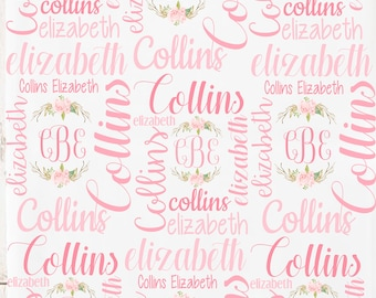 Personalized Baby Blanket, Baby Name Blanket, Hospital Blanket, Baby Girl, Baby Shower Gift, Personalized Swaddle