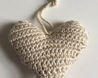 Beige crochet heart decoration