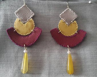 beige, bordeaux and yellow leather earrings
