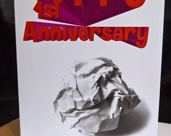 Happy 1st Anniversary - Paper - Greeting Card