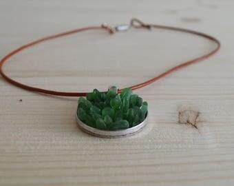 Green beach glass round pendant necklace