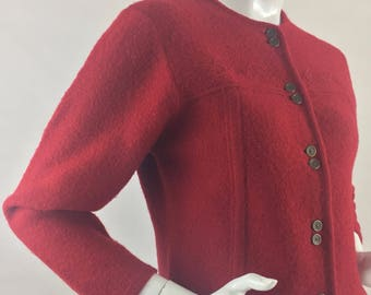 Vintage Pendleton 100% Pure Virgin Wool Red Cardigan Sweater/Made in USA/Size Small-Petite