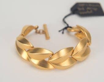 Givenchy 1980s vintage leaf design gold tone bracelet