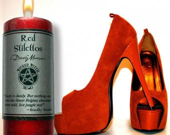 Red Stilettos Wicked Witch Mojo Candle 2 Inches by 4.5 Inches Tall
