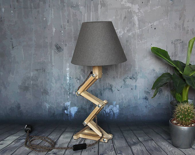 """Featured listing image: Wooden room lamp, wood desk lamp, """"foldable Freddy"""", adjustable lamp, industrial night lamp"""