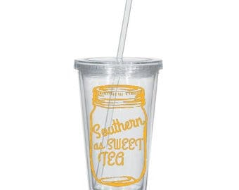 Southern as Sweet Tea, Clear 16oz Tumbler with Lid