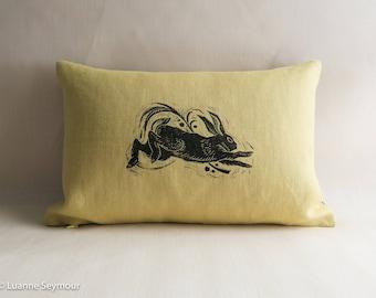 Designer throw pillow cover, linen pillow, block printed, hand block printed pillow cover, rabbit pillow cover