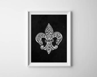 Fleur De Lis Print, Chalkboard Print, French Wall Art, New Orleans, Fleur De Lis, French Decor, Printable Art, Instant Download