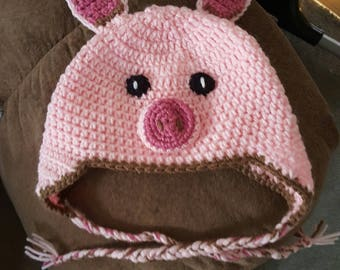 Little Piggy Hat - Cute Piglet Beanie- Newborn to Adult Sizes