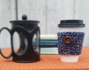Cottage Style Marine Blue Crochet Cup Sleeve - Tweeds Button Everyday Cup Sleeve