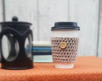 Oatmeal Colored Crochet Cup Sleeve - Tweeds Button Everyday Cup Sleeve in Rolled Oats