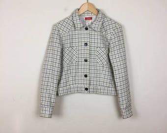 Vintage ESPRIT Jacket Size Medium, Plaid Jacket, Creme Jacket, Preppy Jacket