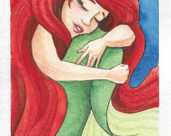 Watercolor fanart painting of the little mermaid