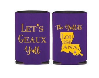 Personalized Huggers, Monogrammed, Custom, Party, Collapsible Neoprene, Beer, Tailgating, Geaux, Louisiana