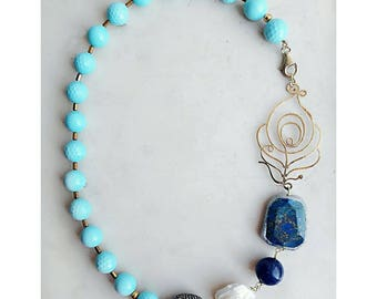 Turquoise necklace, turquoise jewelry, gemstone jewelry for wife, statement jewelry, beaded necklace, beaded jewelry, blue necklace for her