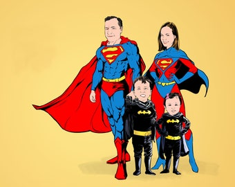 Custom Superhero Portrait, Fathers Day Gift, Personalized Family Portrait, Supermen and Xmen Portrait, Custom Cartoon Portrait, Gift for Dad