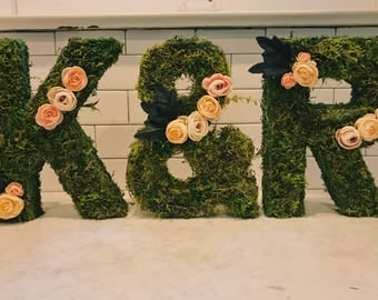 3 piece custom floral + moss letters for wedding