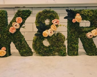 SALE! 3 piece custom floral + moss letters for wedding