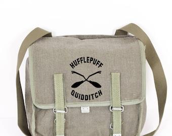 Hufflepuff Quidditch Harry Potter Canvas Vinatge Messnger Bag, Green Military Shoulder Bag, Crossbody Bag From 1980's Gift