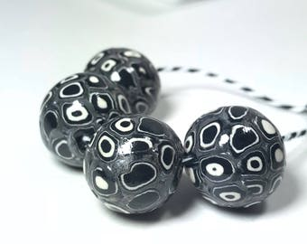 Black and White Polymer Clay Beads, Spotted Beads, Handmade Beads, Clay Beads, Abstract Beads, Jewelry Beads, Large Round Beads, Modern Bead