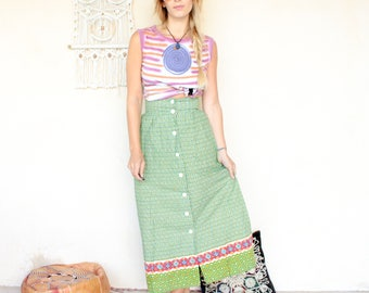 Vintage 70's Indian Print Maxi Skirt