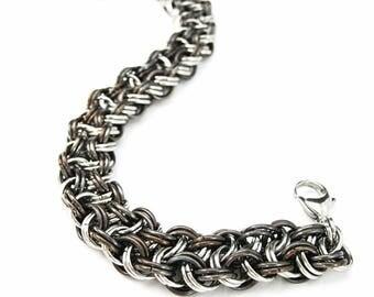 Chainmaille bracelet Steampunk bracelet Chain maille bracelet Mens rustic bracelet Womens chainmaille bracelet Best gift For him For her