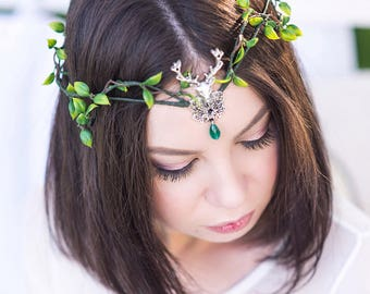 Deer crown Elven circlet antler headband Gift for elven lover Medieval Elven antler headpiece Elf tiara fairy crown deer antlers
