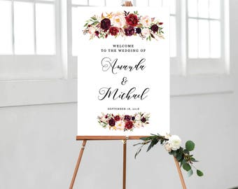 Wedding Welcome Sign, Welcome Sign Template, Ceremony Sign Template, Printable Wedding Sign, Welcome Sign Printable, Burgundy, Floral