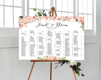 Wedding sign, Wedding seating chart alphabetical, Wedding Seating Chart, Printable Wedding Seating Chart - US_WC0102