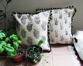 Anatomical Canvas Block Printed Pillows // Pom Pom Fringe // Anatomical Heart // Skeleton Peace Sign