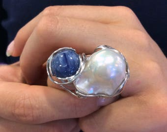 Silver ring with pearls and kyanite