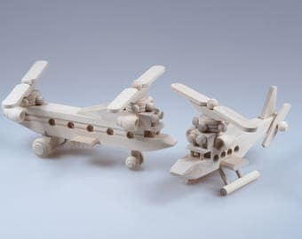 Wooden Chopper + Helicopter Toys