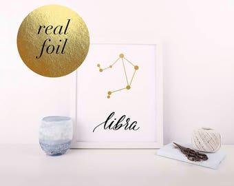 Libra - Libra Print - Zodiac Constellation - Foil Print - Zodiac Print - Hand Lettered Print - Astrology Print - Constellation Print