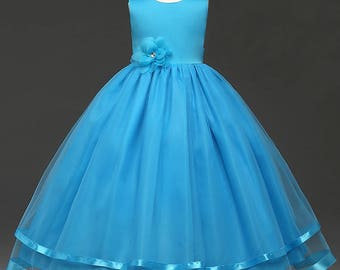 Blue girl ceremony - dress girl or small bridesmaid color blue with big flower and hand made satin ribbons