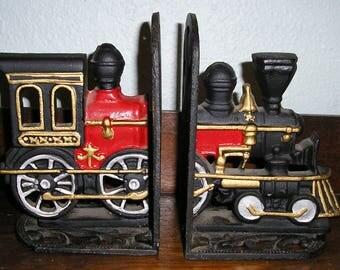 Vintage, antique, cast iron, railroad, train, engine, bookends
