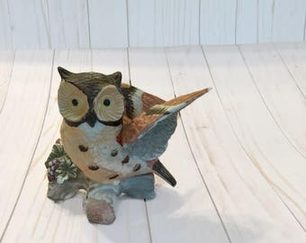 Vtg. Ceramic Owl with Wings Outstretched upon a branch, Home Decor, Country