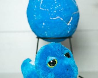 Medium Dinosaur Egg - Blue Stegosaurus