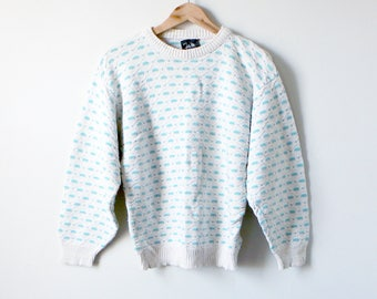 80s Coogi-Style Sweater - Cosby Sweater - Textured Sweater - 80s Sweater - Vintage Sweater - Pastel Sweater - John Weitz - Women's M