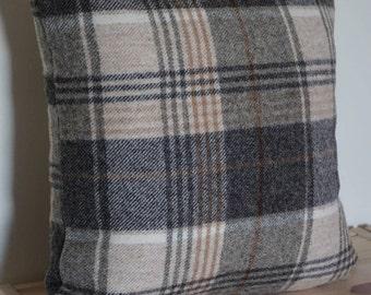 Grey square woollen cushion cover, Scatter cushion, Grey with a beige strip pillow, Tartan cushion, Gray pillow, Plaid cushion,
